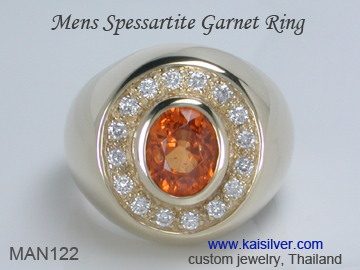 mens garnet wedding ring spessartite