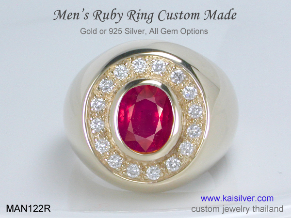 ring with ruby and diamond for men