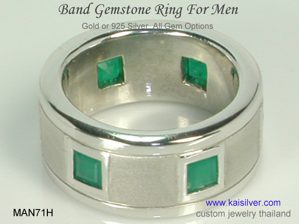 emerald wedding ring men's